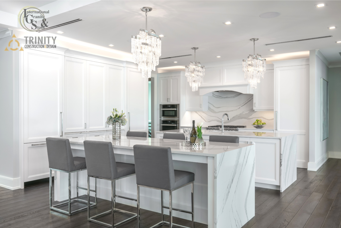 Cambria Brittanica Quartz Kitchen Countertops with Kitchen Island Waterfall with White Cabinets and Full Height Backsplash