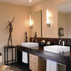 Oakhampton Cambria Quartz Bathroom with Two Sinks and Mirrors