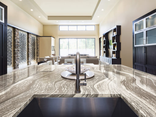 Oakmoor Cambria Quartz Kitchen Countertops with Dark Wood Cabinets and Undermount Sink