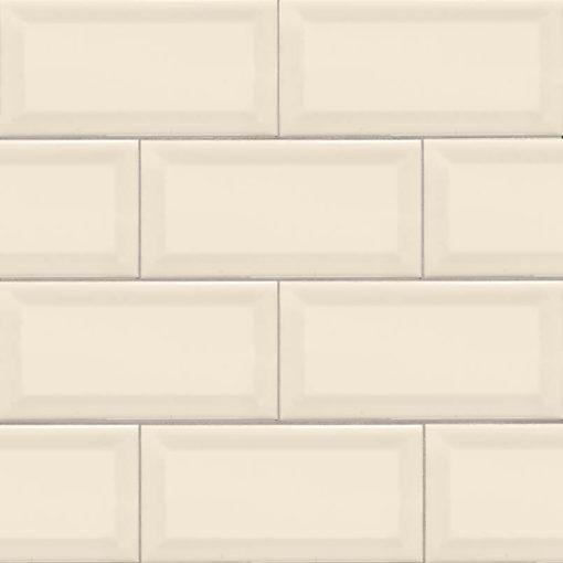 Almond Glossy Subway Tile Beveled 3×6