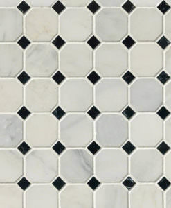Arabescato Cararra 2inch Octagon With Black And White 58x58 Honed In 12x12 Mesh