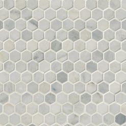Arabescato Carrara 1inch Hexagon Honed In 12×12 Mesh