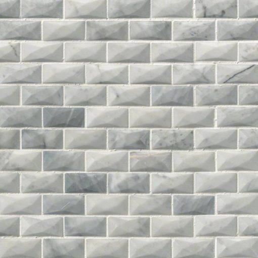 Carrara White 1×2 3d Polished