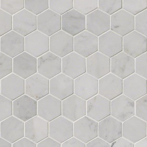 Carrara White 2inch Hexagon Polished