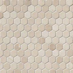 Crema Marfil 1″ Hexagon Tumbled In 12×12 Mesh