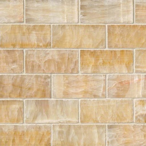Giallo Crystal Onyx Subway Tile 2×4