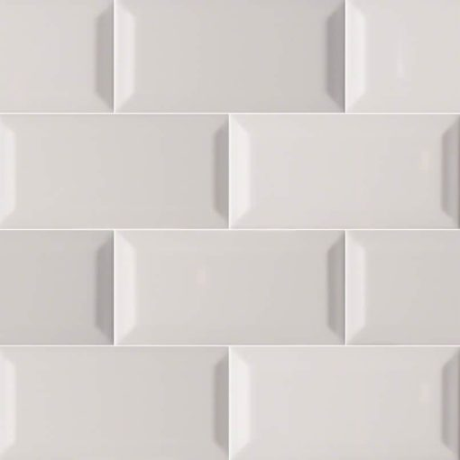 Gray Glossy Subway Tile Beveled 3×6
