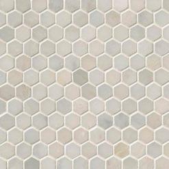 Greecian White 1inch Hexagon Polished In A Mesh