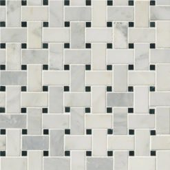 Greecian White Basketweave Pattern Polished
