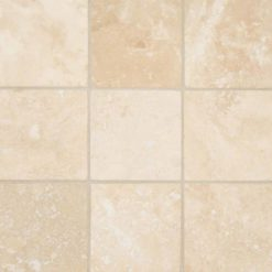 Ivory Travertine 4×4 Honed And Beveled Tile