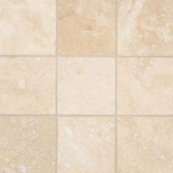 Ivory Travertine 4×4 Honed And Beveled Tile