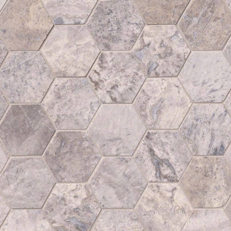 Silver Travertine 3″ Hexagon Honed
