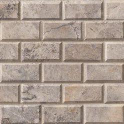 Silver Travertine Subway Tile 2×4