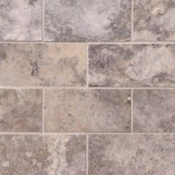 Silver Travertine Subway Tile Honed 3×6