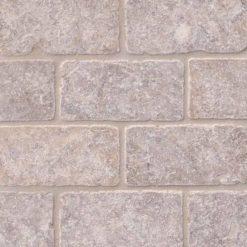 Silver Travertine Subway Tile Tumbled 3×6