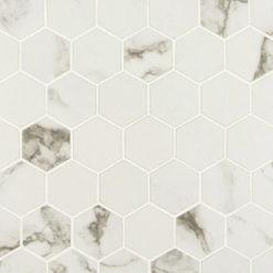 Statuario Matte 2×2 Hexagon Mosaic