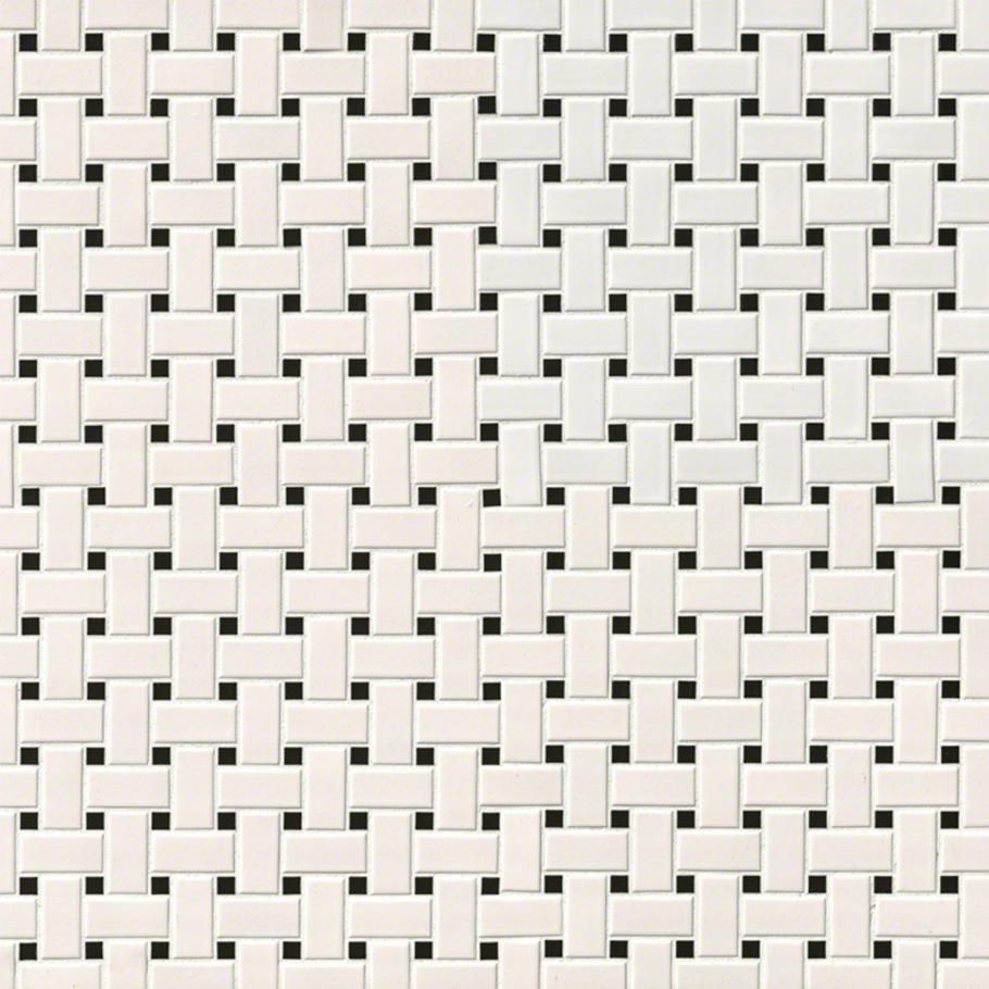 White And Black Matte Basket Weave Mosaic