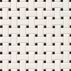 White And Black Matte Basket Weave Mosaic