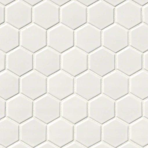 White Glossy 2x2 Hexagon Mosaic