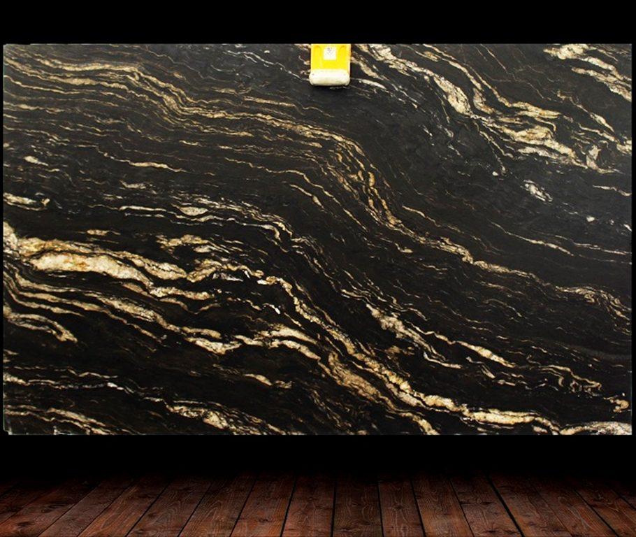 Black Cosmic Leather Finish Granite Slab countertops tampa sarasota clearwater