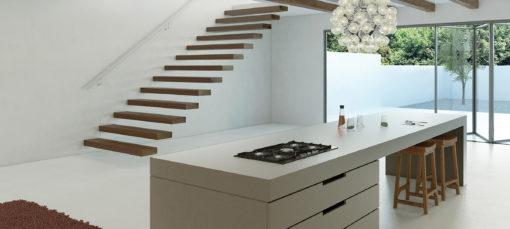 Sleek Concrete Caesarstone Quartz Kitchen