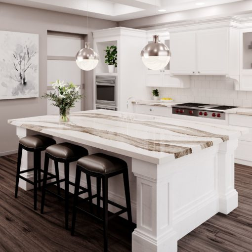 Skara Brae Cambria Quartz Kitchen Countertops with White Wood Cabinets, Bar Stools, and Stainless Steel