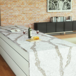 Beaumont Cambria Quartz Kitchen Countertops with White Wood Cabinets and Wood Floors