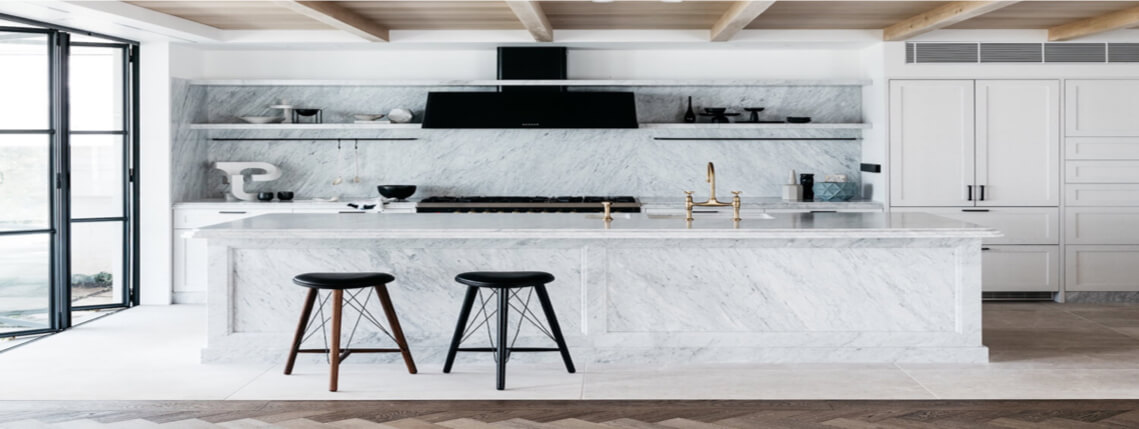 Marble Kitchen Countertops with a Waterfall Edge in Sarasota Florida
