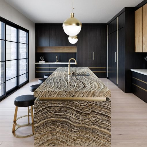 Claridge Cambria Quartz Kitchen Island Countertop with Black Cabinets and Stools