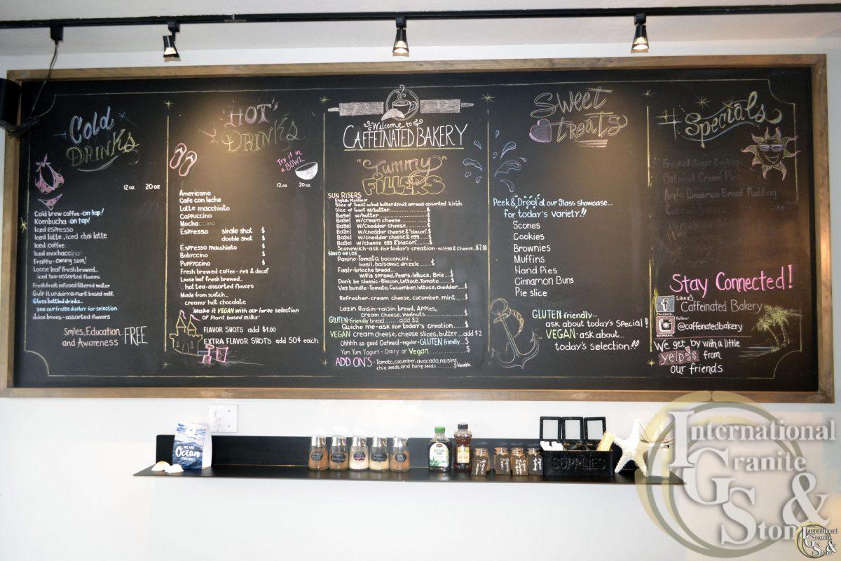 Caffeinated Bakery Chalkboard in Clearwater Beach FL