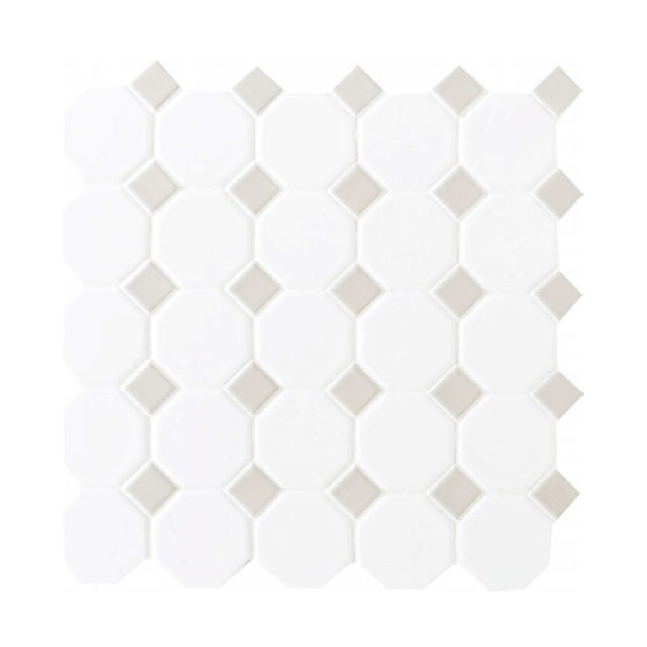 Daltile Octagon & Dot 6501 44 Matte White Gray Dot