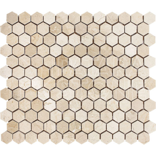 Crema Cappuccino 1inch Hexagon Polished