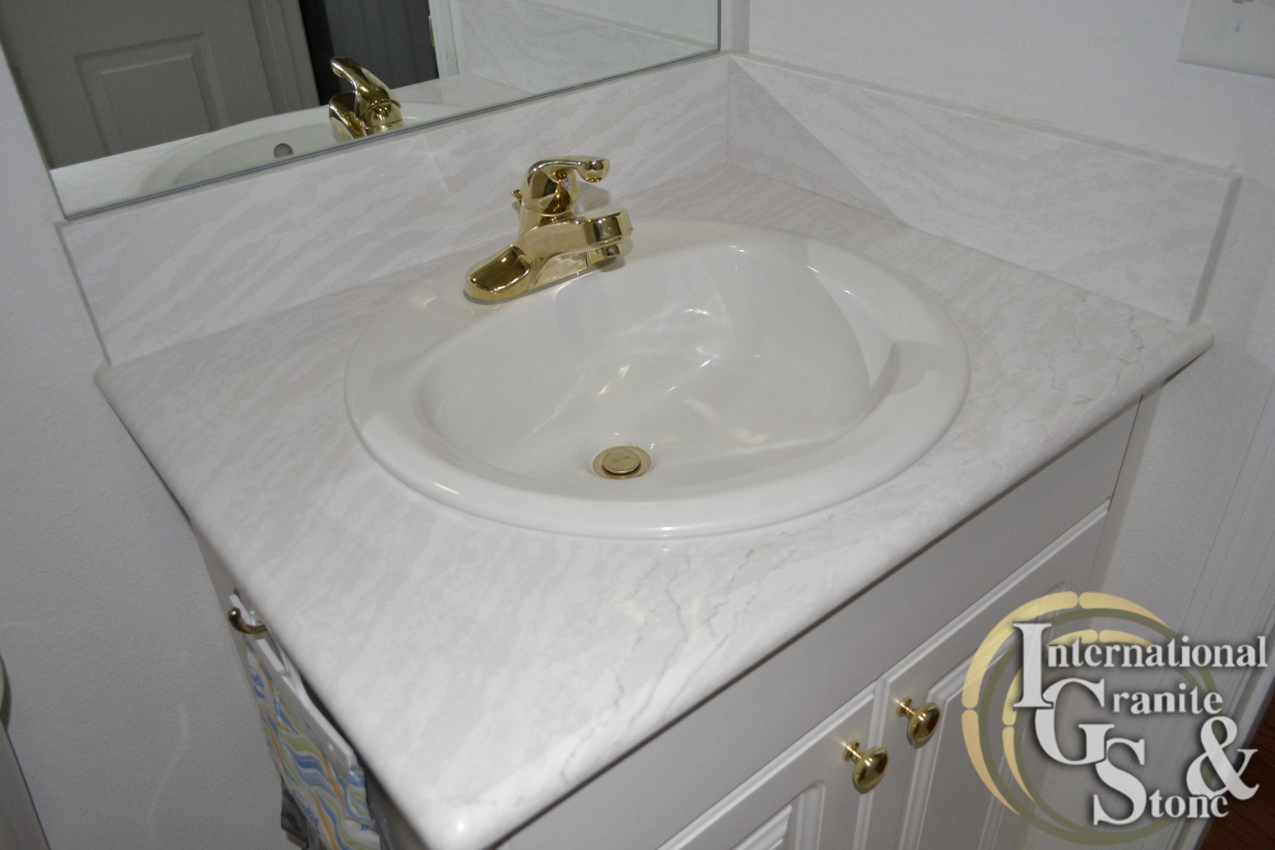 Delgatie Remnant Piece Turned into Bathroom Vanity