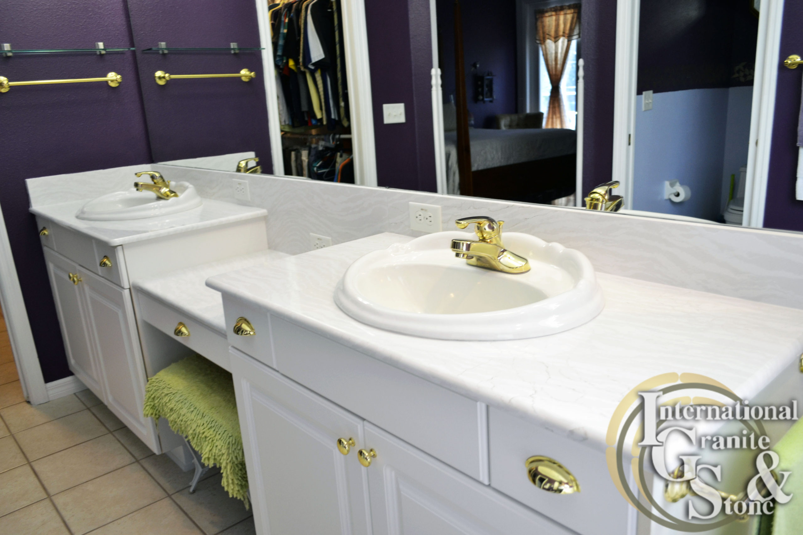Double White Cambria Quartz Bathroom Countertops Vanity