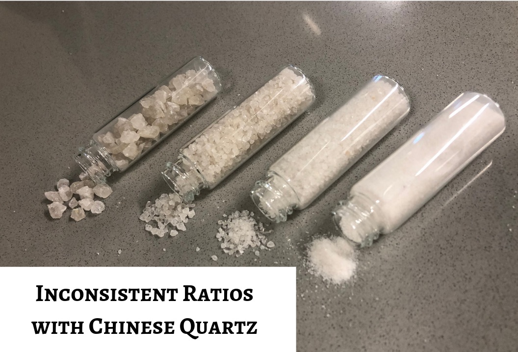 Inconsistent Resin to Crushed Quartz Ratios