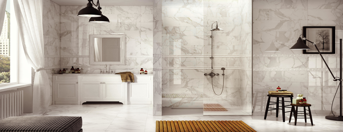 Picture of Marble Countertops and Walls in a Bathroom