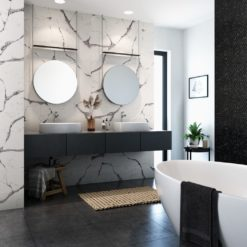Harrogate Cambria Quartz Bathroom Walls with Two Sinks and Mirrors