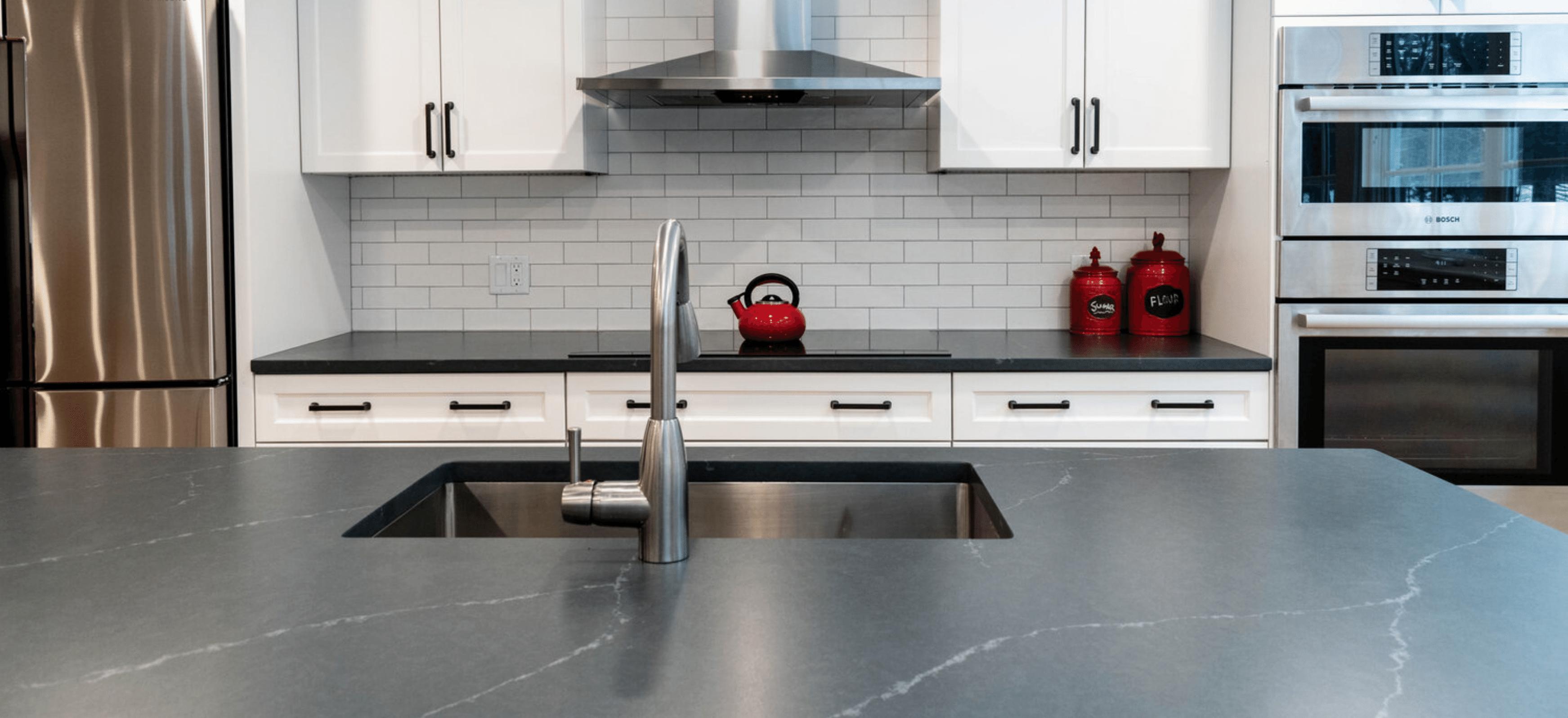Charcoal Soapstone Kitchen Countertops and Island with White Subway Tile Backsplash Natural Stone Countertops