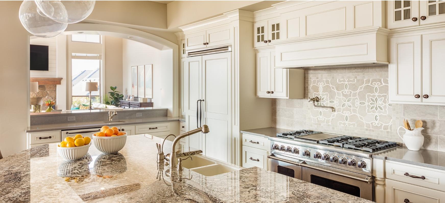 Rustic Farmhouse Style Granite Kitchen Countertops with Decorative Backsplash Tile Natural Stone Countertops