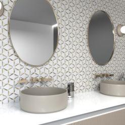 Kaleidoscope Gold Anthology Backsplash in Bathroom
