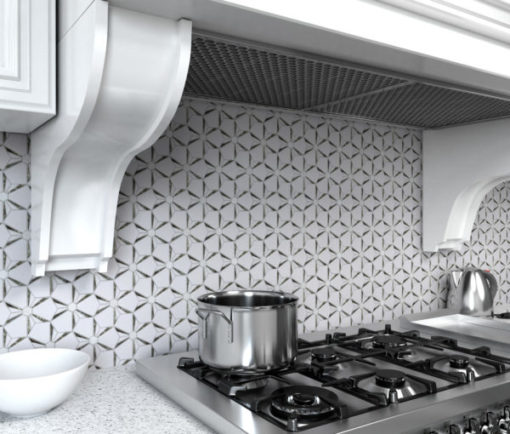 Kaleidoscope Silver Anthology Tile in Kitchen