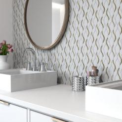 Symmetry Gold Tile Backsplash Product in Bathroom