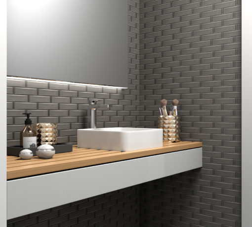 Grey Dimensions Tile Backsplash in Bathroom