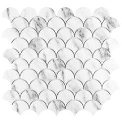 Carrara Fan Anthology Tile Backsplash