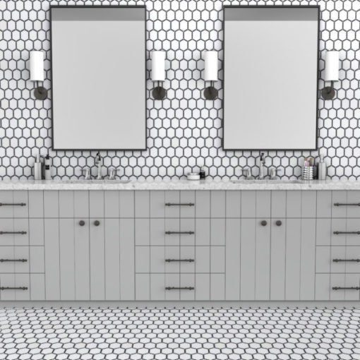 Jeweled Hex Sable Black Tile
