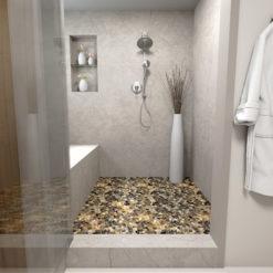Riverstone Tile Backplash in Shower