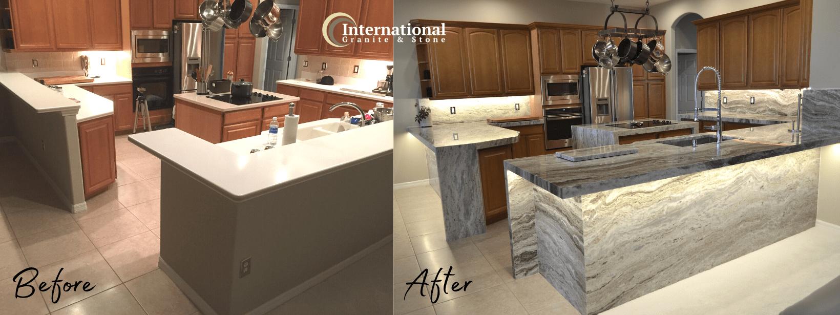 Before and After Brown Fantasy Granite Quartzite Kitchen Countertops Full Height Backsplash