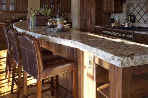Bar Countertop with Chiseled Edge and bar Stool Chairs
