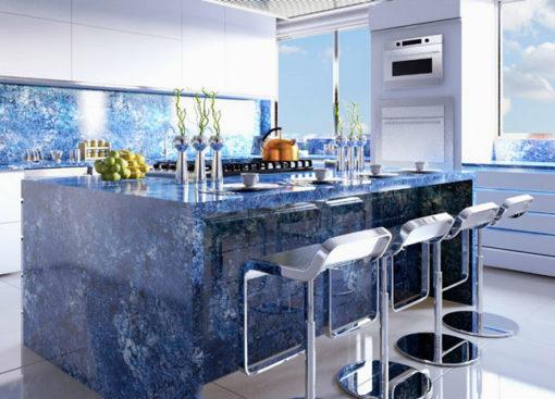Blue Agata Treated Granite Kitchen