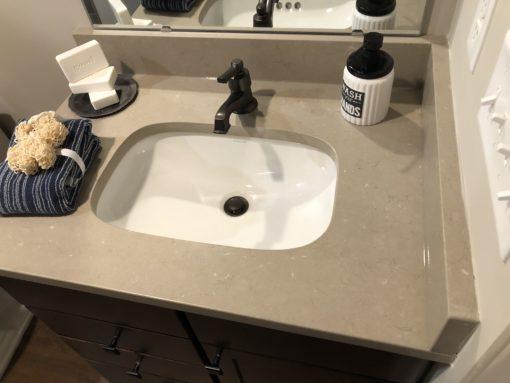 Coral Clay Colour Silestone Quartz Bathroom